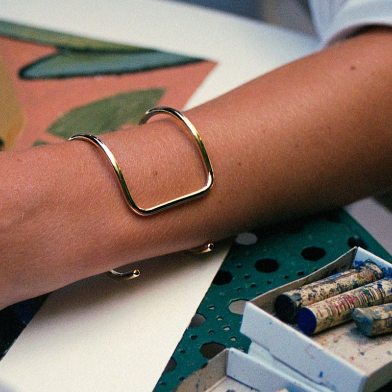 Gold Plated Square Reversible Wrist Cuff