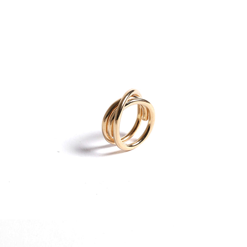 Reversible Gold Plated Crossed Ring