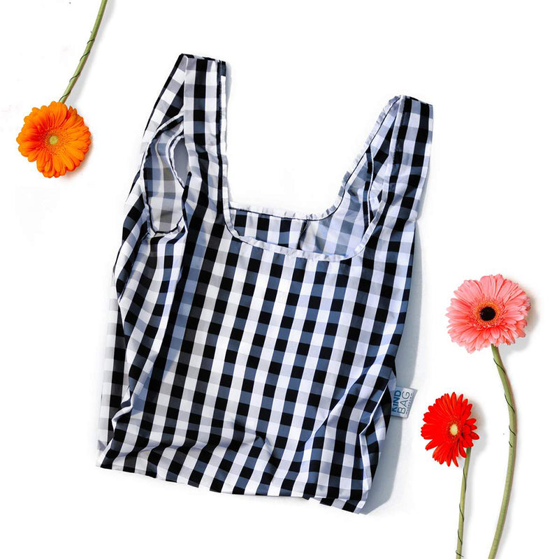 Gingham Black & White Reusable Foldable Shopping Bag