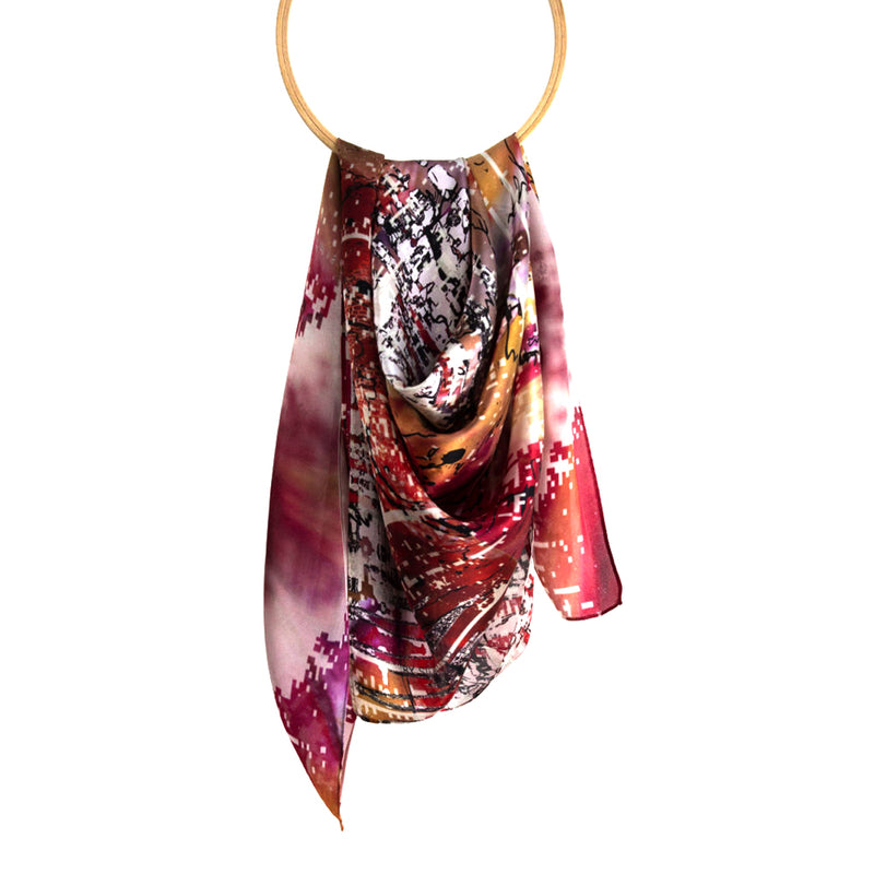Prickly Tulip Silk Satin Scarf - MUDAM STORE