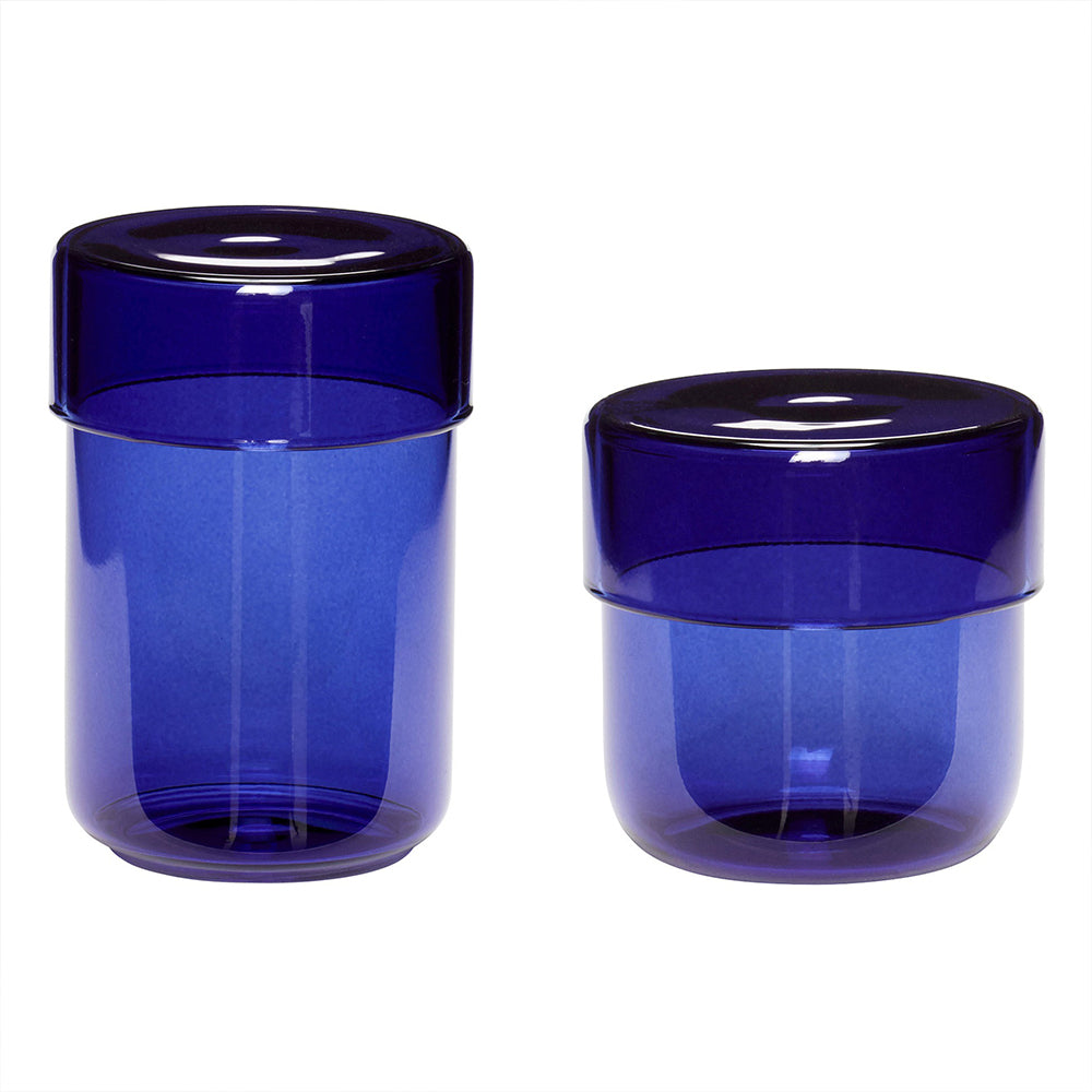 Set Of 2 Blue Glass Pots - MUDAM STORE