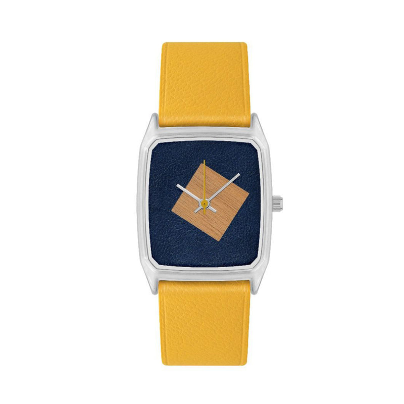 Duo Beech Tree & Leather Yellow Watch