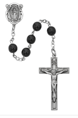 Rosary Black Glass 7mm