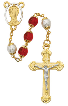 Rosary Red/Pearl Capped 8mm