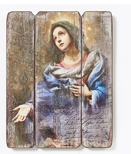 WOOD PANEL BLESSED VIRGIN MARY