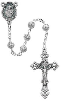 Rosary Silver Filagree 6mm