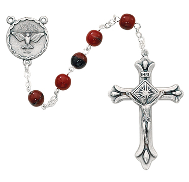 Rosary Holy Spirit Red Black 7mm