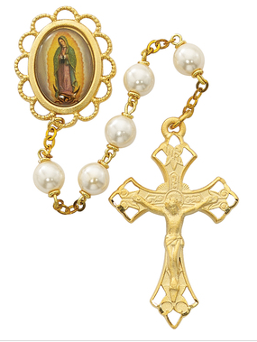 Rosary Pearl Our Lady of Guadalupe Gold Plate 7mm