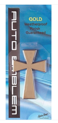 Auto Emblem Gold Cross Large