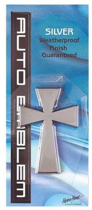 Auto Emblem Cross Silver Large