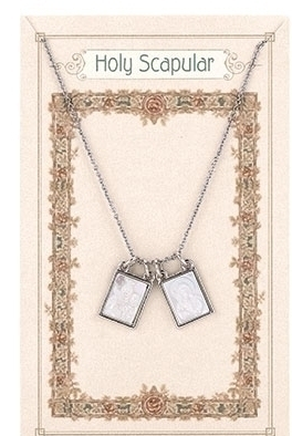 NECKLACE DOUBLE FRONT SILVER/SHELL SCAPULAR