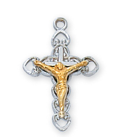 "Necklace Crucifix Tutone w/16"" Rhodium Plated Chain"