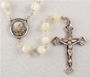 Rosary Genuine Mother of Pearl SS 8mm W/Sterling Center & Crucifix