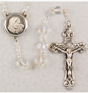 Rosary Tin Cut Crystal SS 7mm W/Sterling Crucifix & Center
