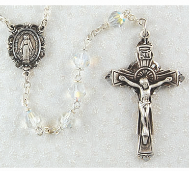 Rosary Tin Cut Crystal 6mm W/Pewter Crucifix & Center
