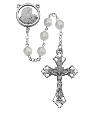 Rosary White Glass 7mm W/Pewter Crucifix & Center