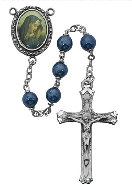 Rosary Blue Our Lady of Sorrows 7mm W/Pewter Crucifix & Center