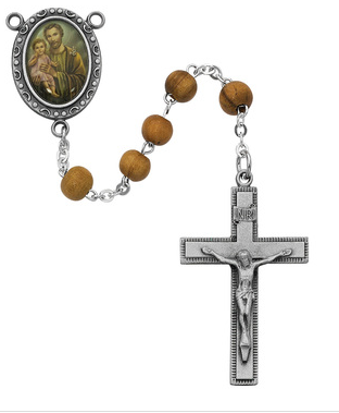 Rosary Olive Wood St. Joseph w/Pewter Crucifix & Center