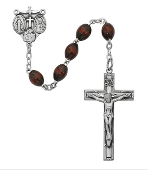 Rosary Brown Beads 4 x 6mm w/Satin Silver Ox Crucifix & Center