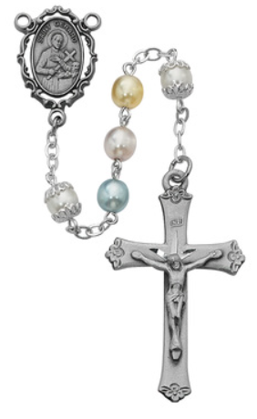 Rosary Multi Pearl St. Gerard 7mm w/Pewter Crucifix & Center