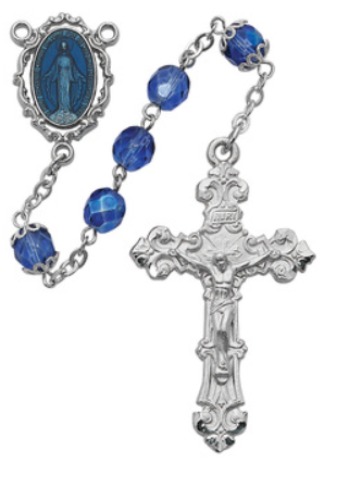 Rosary Blue Capped Our Lady Of Fatima 7mm w/Blue Enamel Center