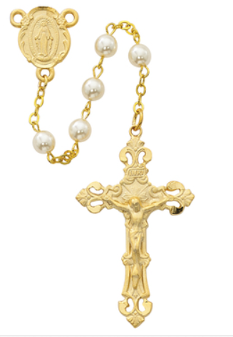 Rosary GP Pewter & Pearl w/Pewter Crucifix & Center