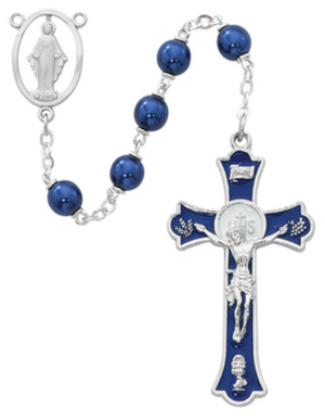 Rosary Blue Metallic RF 7mm w/Rhodium PL Blue Epoxy Mass Crucifix