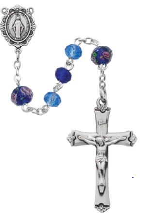 Rosary Dark & Light Blue Beads 6mm SS w/Sterling Sil Crucifix & Center