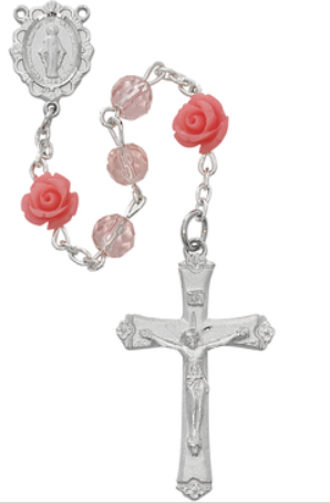 Rosary Pink Rose Beads 6mm w/Rhodium Pl Center & Crucifix