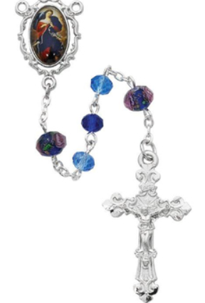Rosary Multi Blue Our Lady Undoer of Knots w/Rhodium Pewter Crucifix