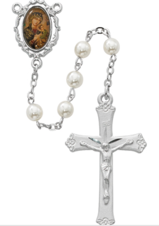 Rosary Pearl Our Lady of Perp Help w/Rhodium Pl Crucifix & Center