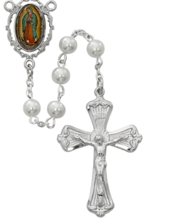 Rosary Pearl Beads w/Guadalupe Center & PL Pewter Crucifix