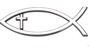 Auto Fish Emblem w/cross silver, small
