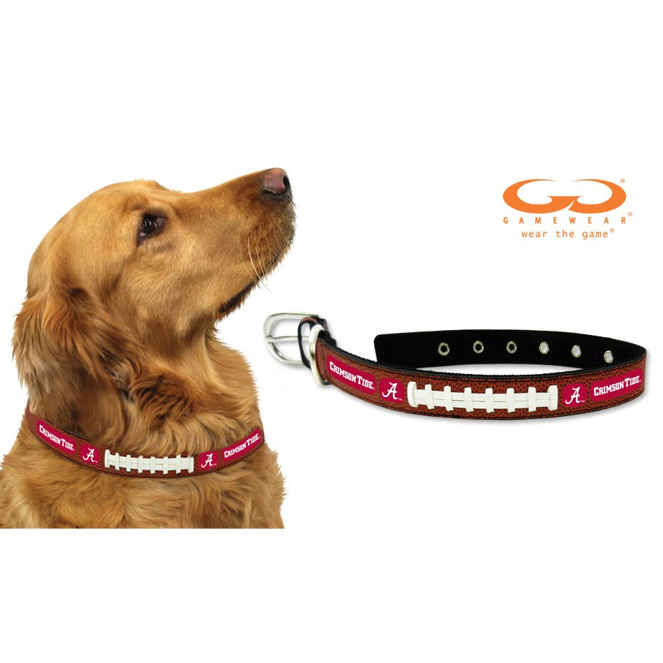 Alabama Crimson Tide NCAA Classic Leather Football Pet Dog Collar by GameWear