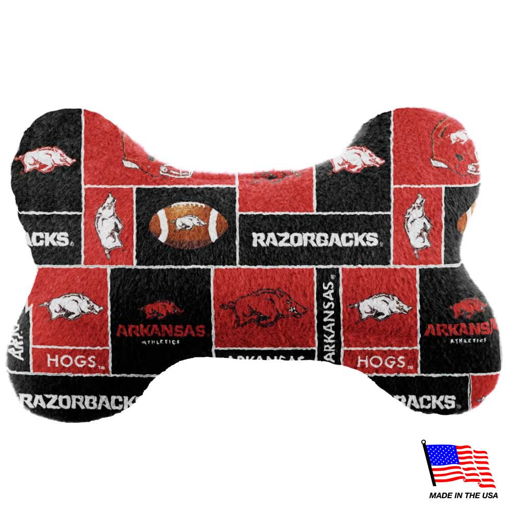 Arkansas Razorbacks NCAA Plush Bone Pet Dog Toy by All Star Dogs