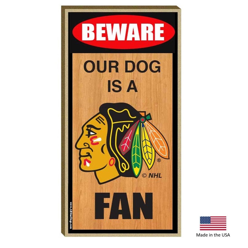 Chicago Blackhawks NHL Wood Sign Pet Dog by All Star Dogs