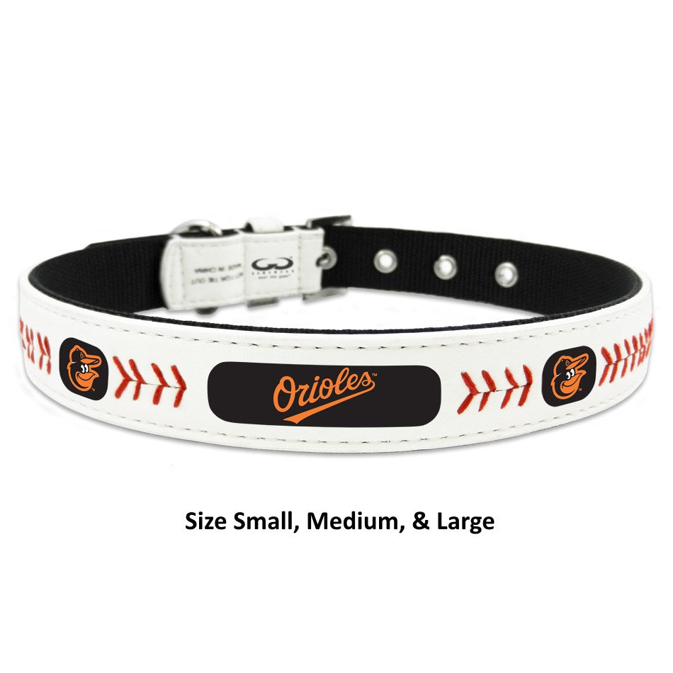 Baltimore Orioles MLB Classic Leather Baseball Pet Dog Collar by GameWear