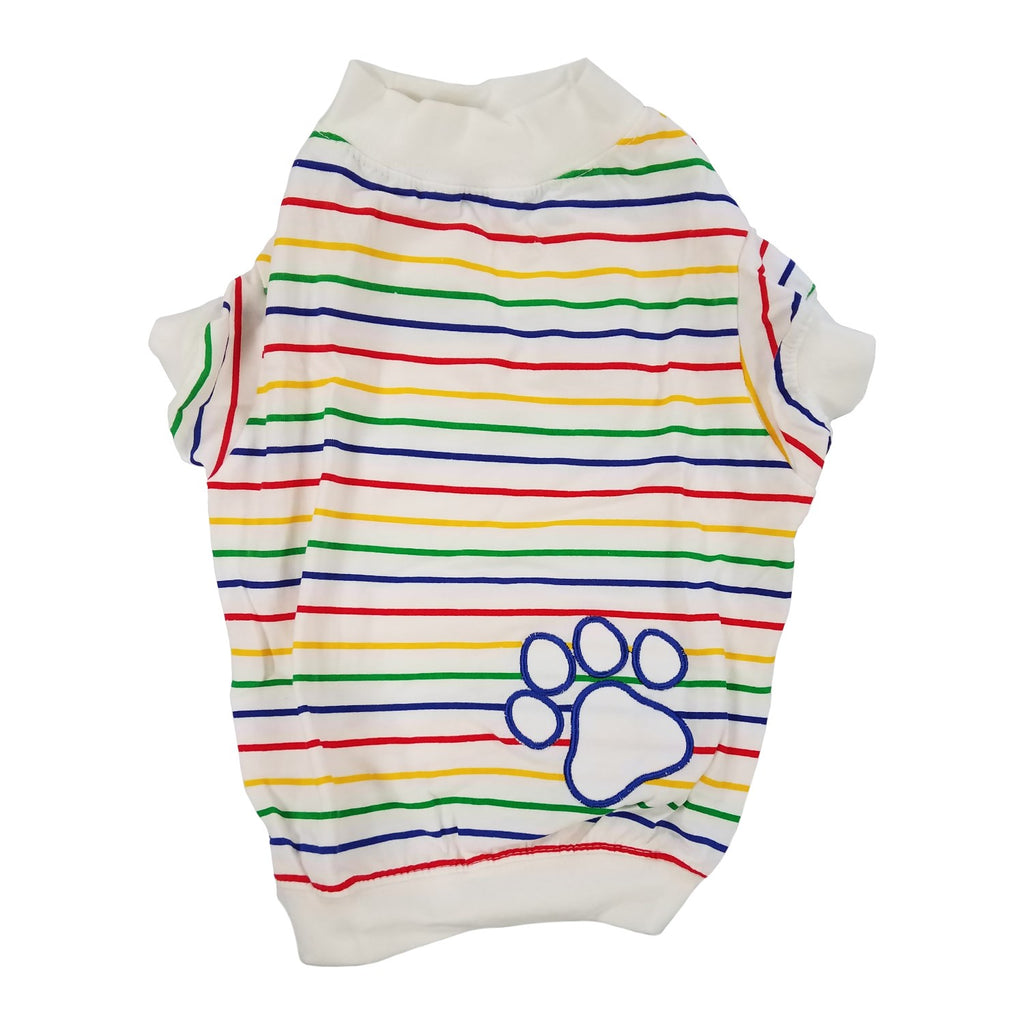 Candy Stripe Pawprint Pet Dog Tee by Pet Edge