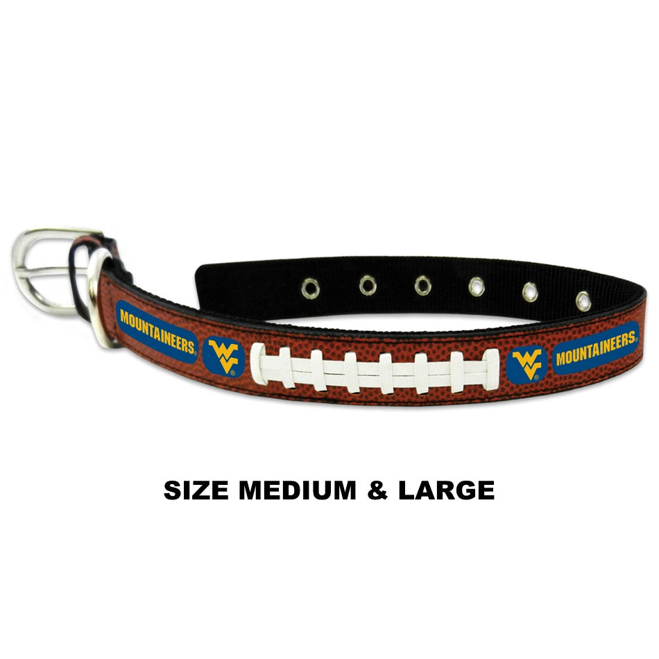 West Virginia Mountaineers NCAA Classic Leather Football Pet Dog Collar by GameWear