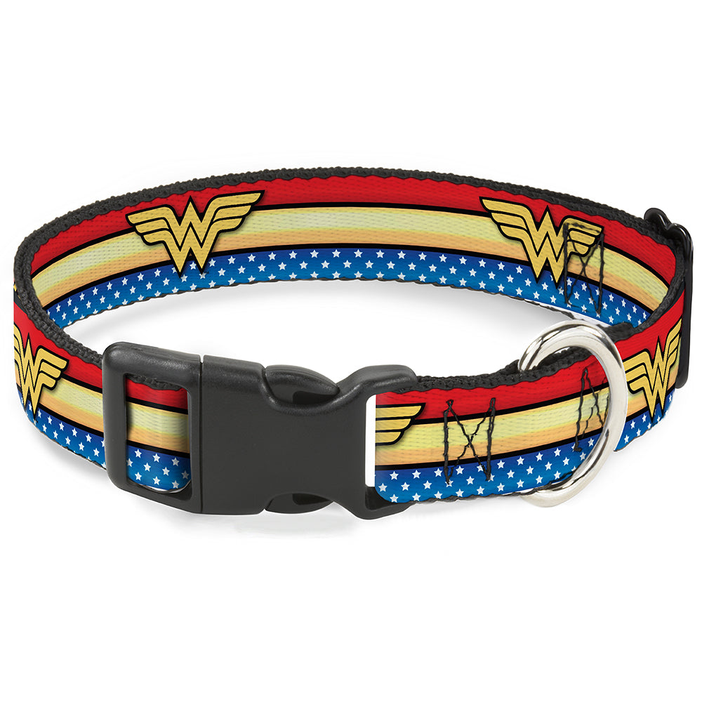 Buckle-Down Wonder Woman Logo Stripe Pet Dog Collar by Buckle-Down