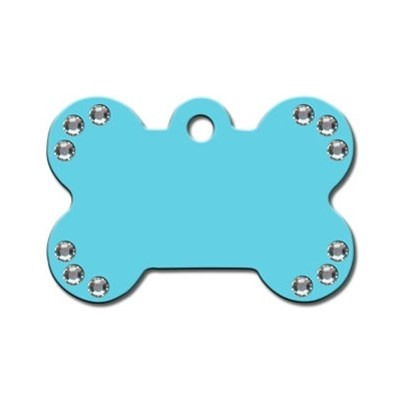 Diva Turquoise Large Bone Pet Dog ID Tag Clear Stones by Hillman Group