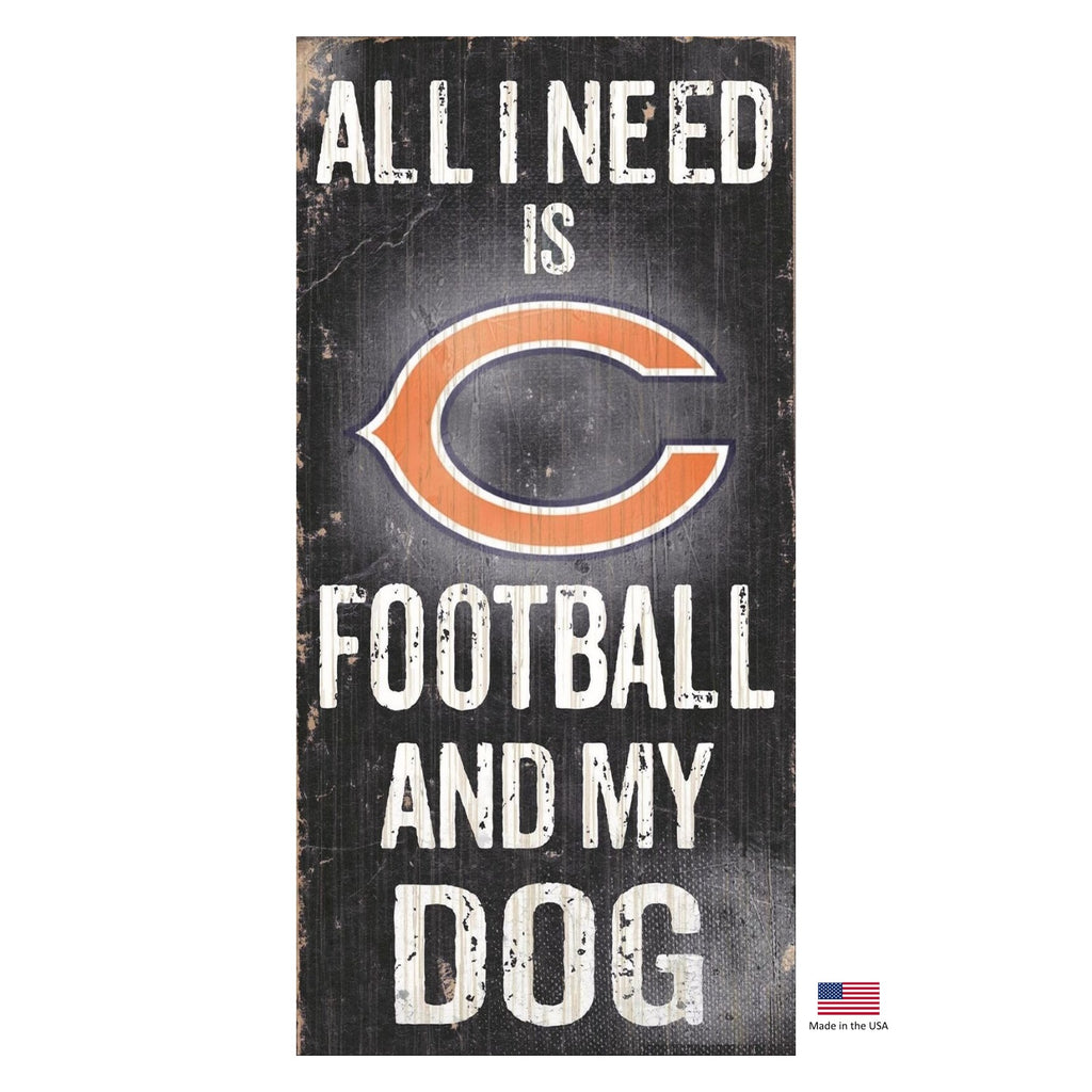 Chicago Bears NFL Distressed Football And My Pet Dog Sign by Fan Creations