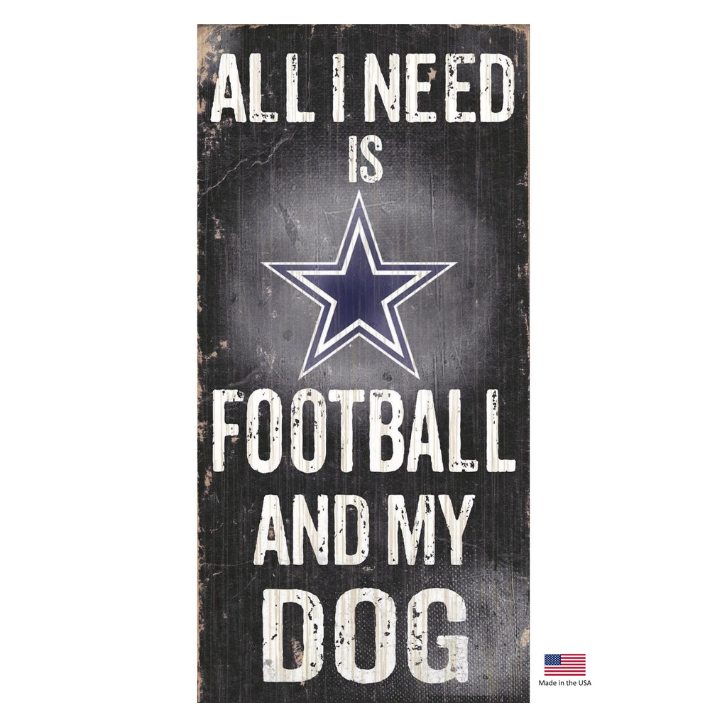 Dallas Cowboys NFL Distressed Football And My Pet Dog Sign by Fan Creations
