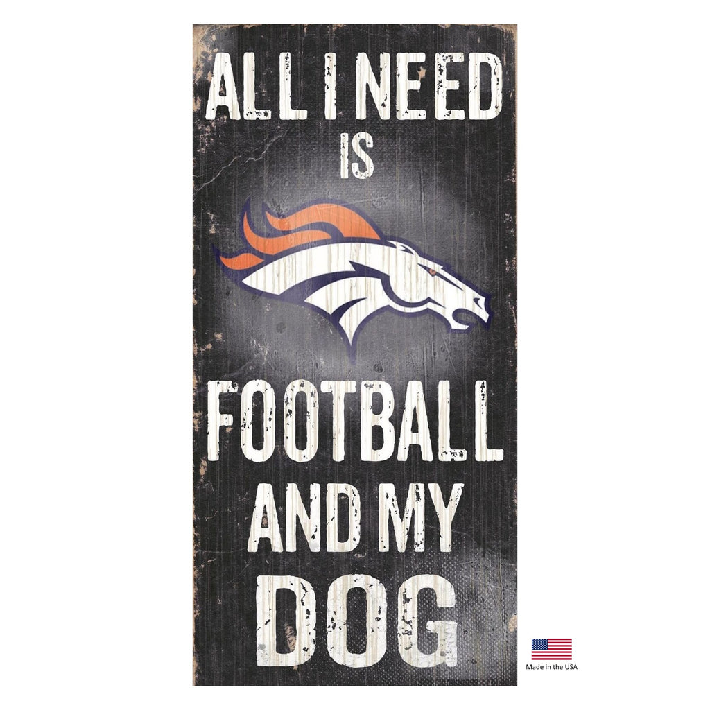 Denver Broncos NFL Distressed Football And My Pet Dog Sign by Fan Creations