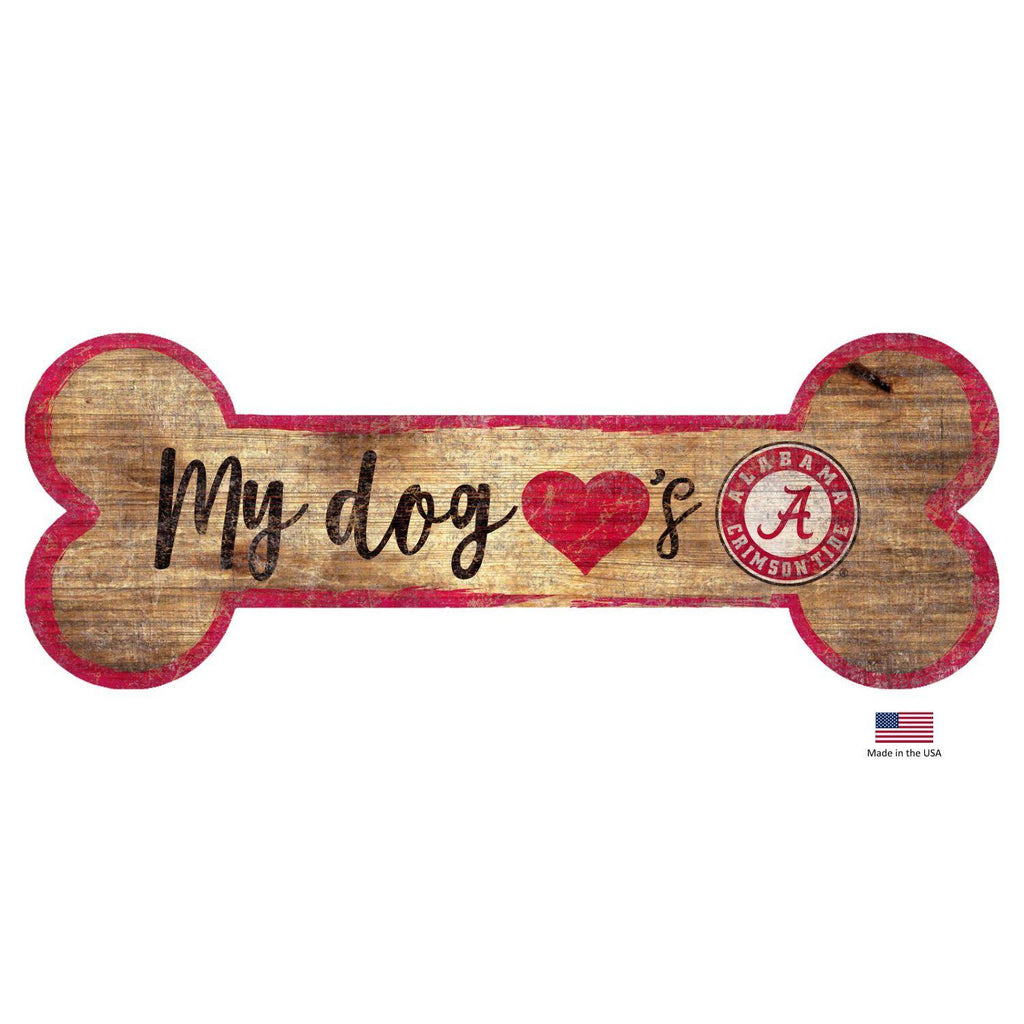 Alabama Crimson Tide NCAA Distressed Pet Dog Bone Wooden Sign by Fan Creations