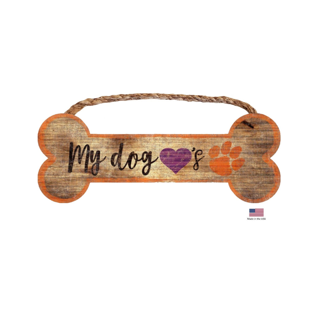 Clemson Tigers NCAA Distressed Pet Dog Bone Wooden Sign by Fan Creations