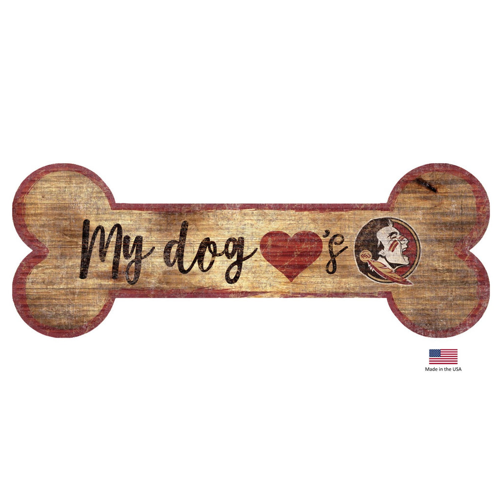 Florida State Seminoles NCAA Distressed Pet Dog Bone Wooden Sign by Fan Creations