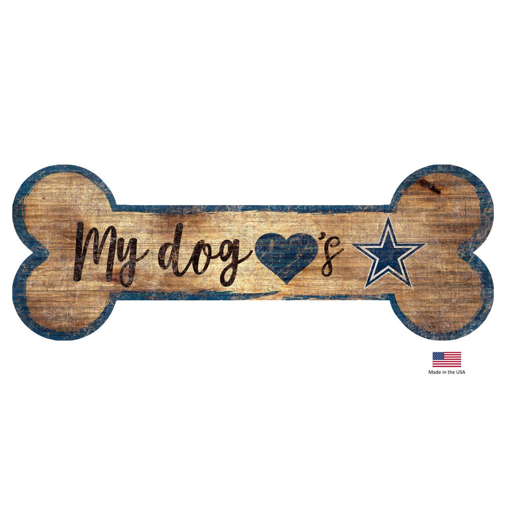 Dallas Cowboys NFL Distressed Pet Dog Bone Wooden Sign by Fan Creations