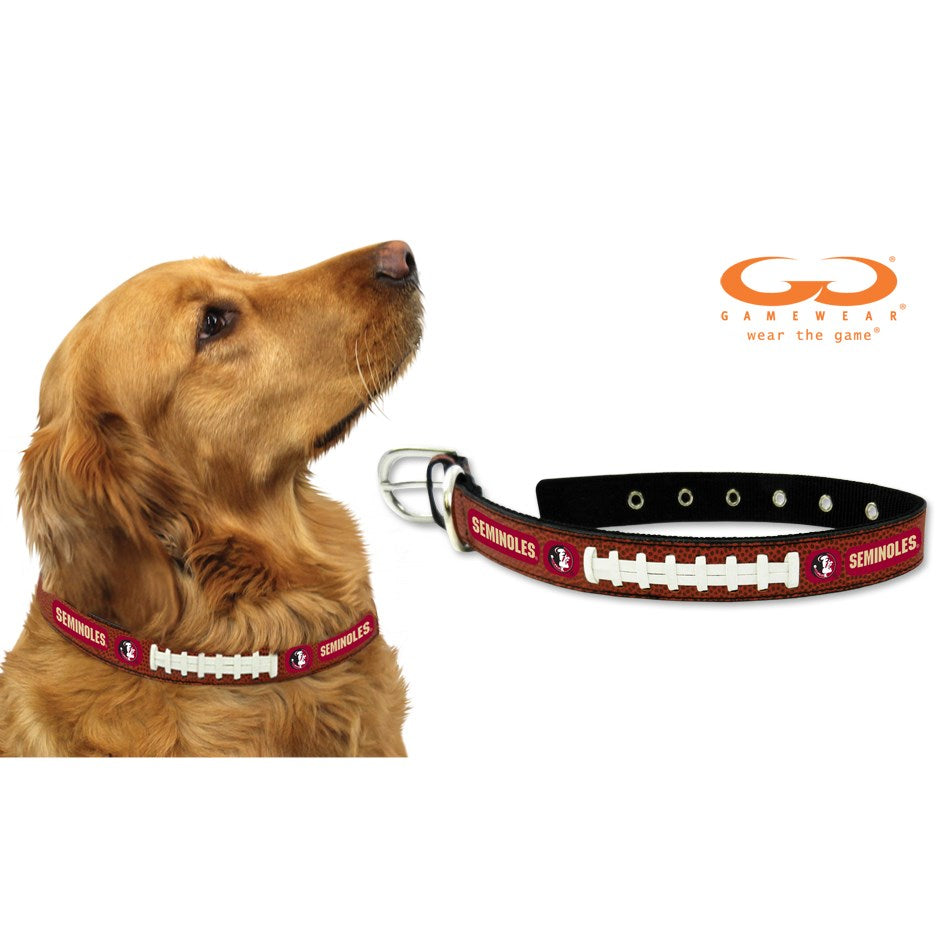 Florida State Seminoles NCAA Classic Leather Football Pet Dog Collar by GameWear