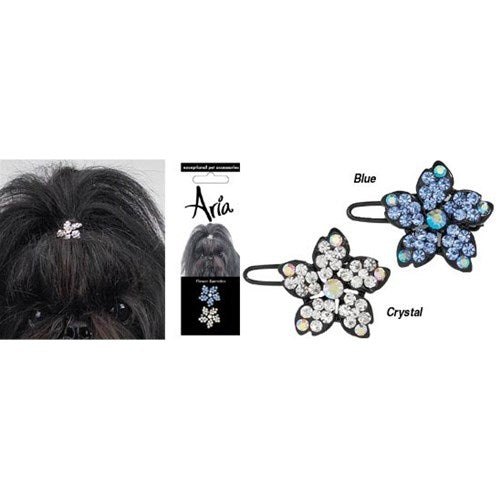 Flower Pet Dog Barrettes, Crystal and Blue (Set of 2) by Pet Edge